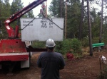 Willamette Graystone setting the super special tank designed by Mike Bentz of Myco Excavation.